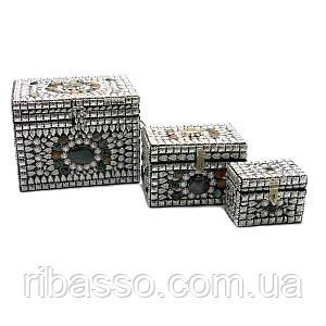 Сундуки металлические с камнями н-р 3 шт. 20х17х16 см 18239