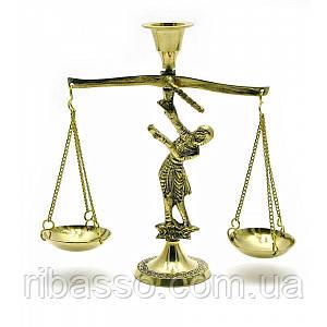 """Подсвечник """"Весы"""" бронзовый 12х15,5х5 см Lady Balance Small 3147"""