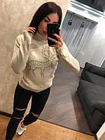 Красивий жіночий в'язаний светр з оленем,білий.Виробництво Туреччина., фото 1