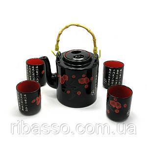 Сервиз керамический чайник 700мл, h-13,5см, d-9см; 4 чашки 130мл, h-7,3см, d-6см 28х16х12см 27901