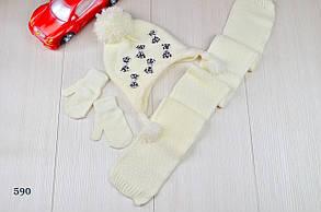 Шапка детская на девочку  с шарфом в комплекте на флисе зима 2-5 лет, фото 2