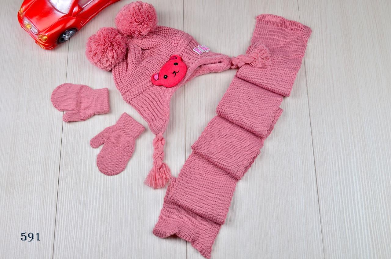 Шапка детская на девочку  с шарфом в комплекте на флисе зима 2-5 лет
