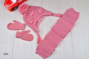 Шапка детская на девочку  с шарфом в комплекте на флисе зима 2-5 лет, фото 3