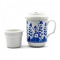 """Чашка заварочная с ситом 330мл.""""Синие цветы"""" h-13cм, d-7,5см 25168"""