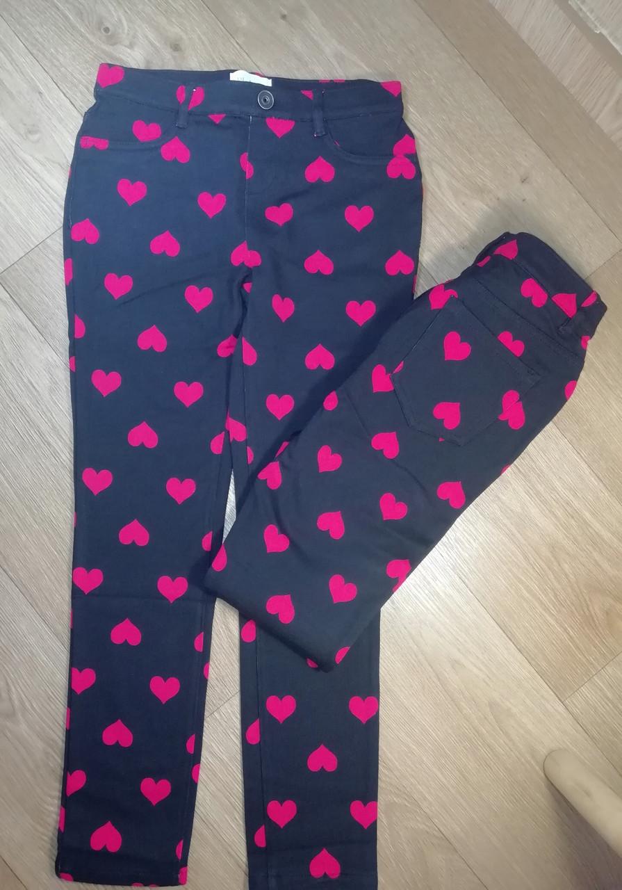 Хлопковые черные брюки в сердечко (Размер 8Т) Children's Place (США)