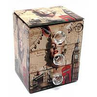 """Шкатулка для украшений """"Мерлин Монро""""с зеркальцем стеклянная 15х12х9,5 см 29662C"""