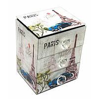 """Шкатулка для украшений """"Париж""""с зеркальцем стеклянная 15х12х9,5 см 29662B"""