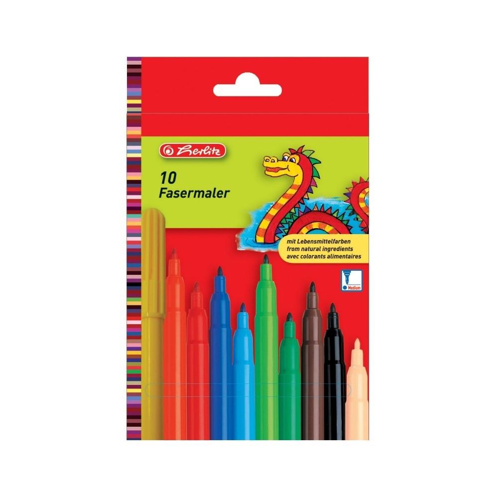Фломастеры Herlitz 10 цветов стержень 2мм (8649139)