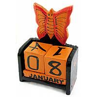 """Календарь настольный """"Бабочка"""" дерево черная 15х10х5 см 30284B"""