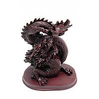 Дракон с хрустальной жемчужиной каменная крошка 16х14 см 2559