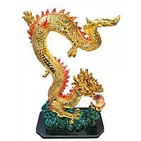 Дракон с хрустальной жемчужиной каменная крошка золотой 38х23х11,5 см 32039