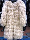 Шуба из натуральной ЛАМЫ 90 см цвет марсала, фото 3