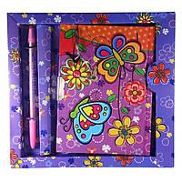 Блокнот с замком для девочек фиолетовый 2 ключа, ручка 19х18х1,5 см 30733C