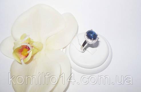 Срібне кільце з натуральним зірчастим сапфіром, фото 2