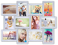 Коллаж рамка для фото на 12 фотографий, белая., фото 1