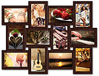 Рамка для фото деревянная на 12 фотографий. коричневая