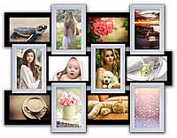 Рамка коллаж на 12 фотографий,черно - белый цвет.