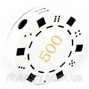 """Зажигалка газовая """"Покерная фишка"""" белая d-4 см 30683B"""