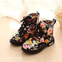 Ботиночки с цветочным принтом на меху