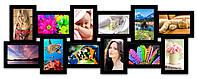 Рамка для фотографий, из дерева на 12 фото, черная., фото 1