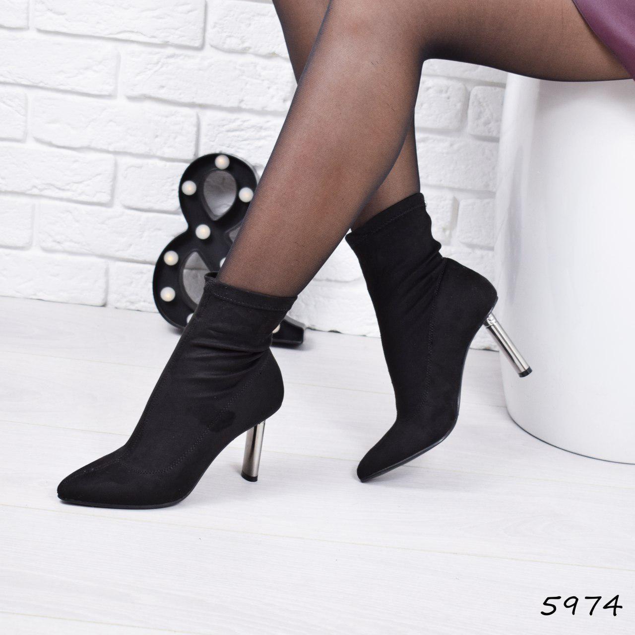 """Ботильоны женские на каблуке, черные """"1Love"""" эко замша, повседневная, демисезонная женская обувь"""