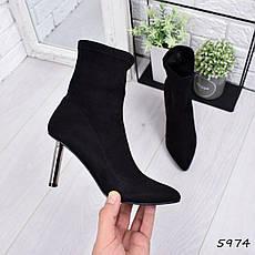 """Ботильоны женские на каблуке, черные """"1Love"""" эко замша, повседневная, демисезонная женская обувь, фото 3"""