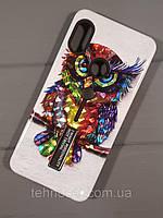 Чехол-накладка Hybrid TPU рисунок Samsung J6 (2018) с подставкой (Сова), фото 1
