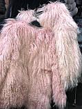 Персиковая шуба из ЛАМЫ 75 см, фото 10