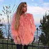 Рожева шуба з натуральної ЛАМИ 75 см, фото 4