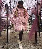 Розовая шуба из натуральной ЛАМЫ 75 см, фото 10