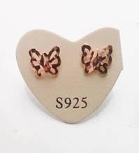 Сережки-гвоздики Метелики, покриті сріблом 925