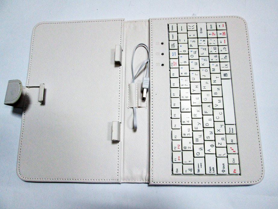 Чехол клавиатура для планшета 7 Rus USB Белый