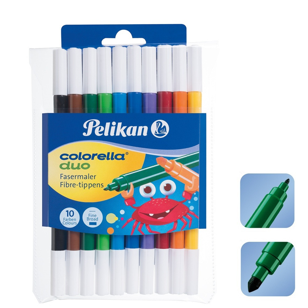 Фломастеры Pelikan Colorella Duo 10 цветов 10шт двусторонние 1мм/2мм (973172)