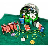 Покерный набор 2 колоды карт,200 фишек,сукно d-25,h-9 см вес фишки 4 гр. d-39 мм 23717