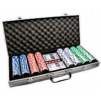 Покерный набор в алюминиевом кейсе 2 колоды карт + 400 фишек 48,5х22,5х6,5 см 23721