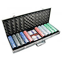 Покерный набор в алюминиевом кейсе 2 колоды+500 фишек 56х22х7см вес фишки 4 гр. d-39 мм 23720