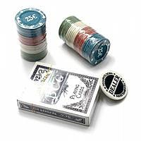 Покерный набор в блистере колода карт,48 фишек 24,5х10х4 см вес фишки 4 гр. d-39 мм 25180