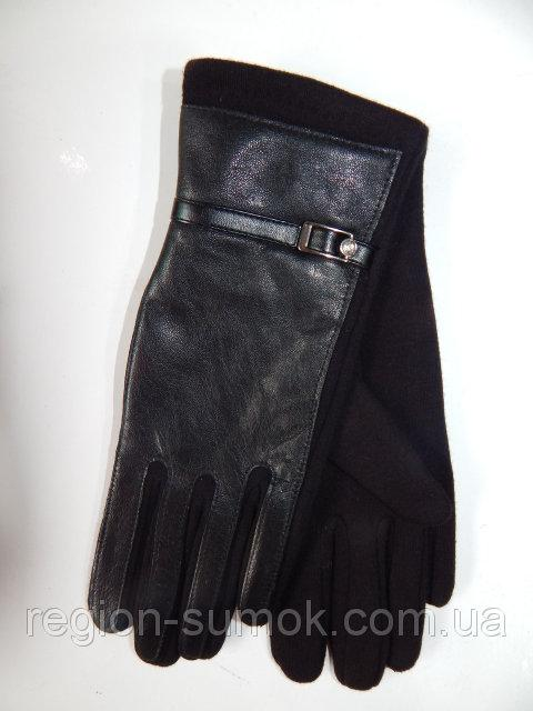 Женские перчатки кожа/трикотаж на тонком флисе оптом