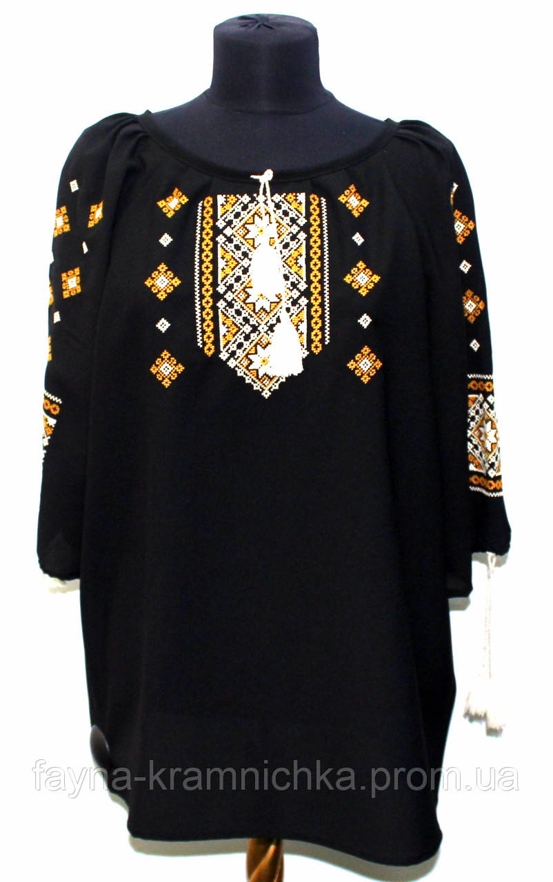Сорочка вишиванка жіноча довгий рукав, креп шифон