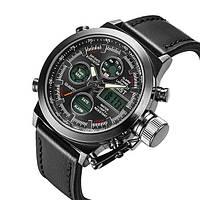 Мужские наручные часы военные армейские кварцевые с Подсветкой AMST черные