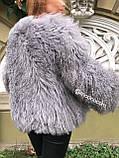 Сиреневая шуба из натуральной ЛАМЫ 75 см, фото 9