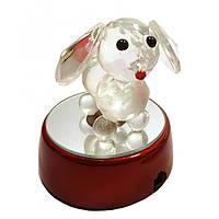 Собака хрустальная на подставке с подсветкой 7,5х6,3х6,3 см 23357
