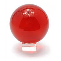 Шар хрустальный на подставке красный d-11 см 28863