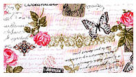 Розы и бабочки светло-розовый