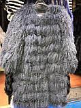 Черная шуба трансформер из натуральной ламы 90 см, фото 10