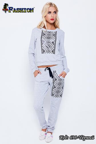 Жіночий сірий спортивний костюм Аргайл