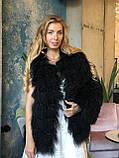 Черная шуба трансформер из натуральной ламы 90 см, фото 5
