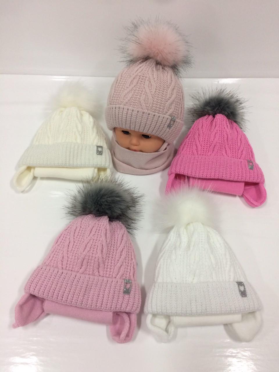 детские утеплённые вязаные шапки оптом с завязками шарфом и