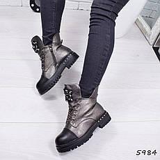 """Ботинки, ботильоны бронзовые ЗИМА """"Prisma"""" эко кожа, повседневная, зимняя, теплая, женская обувь, фото 3"""
