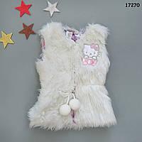 Меховая жилетка Hello Kitty для девочки. XS;  S (2-3; 3-4 года)